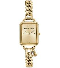 classic rectangular goldtone stainless steel charm bracelet watch
