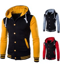 2017 autumn fashion young man baseball hoodie men patchwork hoody fleece sport