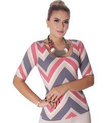 blusa ficalinda meia manga estampa exclusiva zig zag red decote redondo