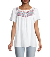 beach lunch lounge women's embroidered top - white - size xs