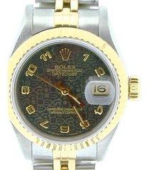 rolex datejust lady 2tone 18k gold & steel watch slate jubilee arabic dial 69173