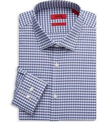 hugo hugo boss men's mabel sharp-fit check dress shirt - navy - size 17 r