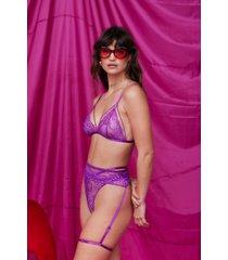womens lace-up 3-pc lingerie set with low-rise - purple