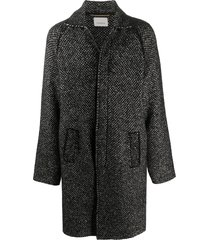 laneus micro-pattern coat - black