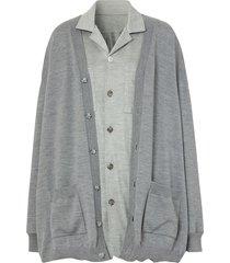 burberry cardigan detail jersey shirt - grey