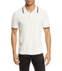men's rag & bone edmond slim fit tipped polo sweater, size x-large r - white