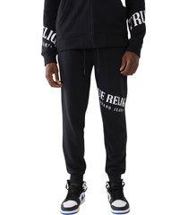 men's true religion brand jeans welt cotton blend joggers, size xx-large - black