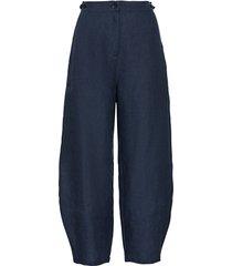 linnen 7/8-broek met wijde, klokkende pijp en steekzakken, nachtblauw 46