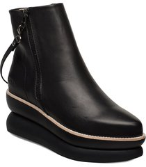 503g black leather shoes boots ankle boots ankle boots flat heel svart gram