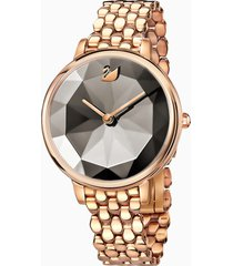 orologio crystal lake, bracciale di metallo, grigio, pvd oro rosa