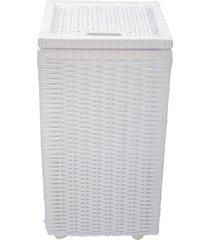 cesto roupa suja roupeiro fibra sintetica junco branco 30x30x57