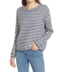 madewell seagrove stripe pullover sweater, size large in dark baltic at nordstrom