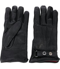 alexander mcqueen press-stud strap leather gloves - black