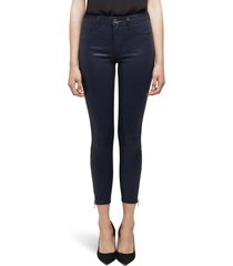women's l'agence sabine coated high waist ankle zip crop skinny jeans, size 34 - blue