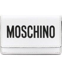 moschino mini logo-print wallet - white