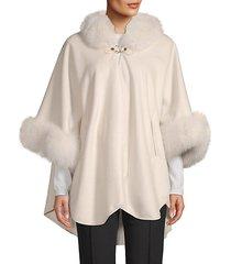 fox fur cashmere cape