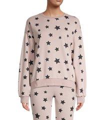 lea & viola women's star-print sweatshirt - oatmeal - size s