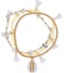 inc international concepts gold-tone 3-pc. set white bead & charm stretch bracelets, created for macy's