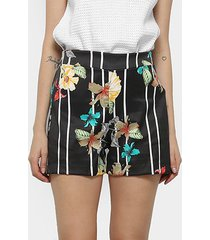 shorts mercatto hot pants listrado floral feminino