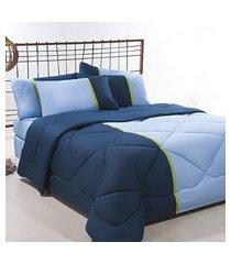 coordenado edredom + jogo de cama king aconchego premium 06 peças - azul/ marinho