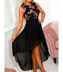 yoins negro floral dobladillo alto-bajo sin mangas vestido