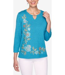 alfred dunner women's colorado springs floral asymmetric embroidery sweater