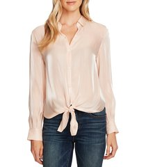 women's vince camuto tie front iridescent blouse, size large - coral