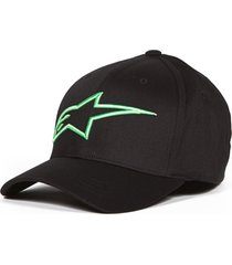 boné alpinestars logo astar preto/verde logo astar - kanui