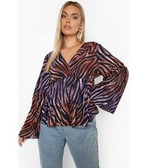 plus peplum tijgerprint blouse, purple
