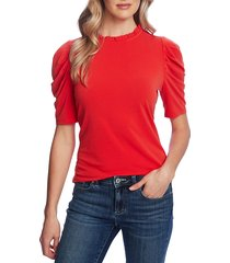 women's cece puff sleeve crepe top, size x-large - red