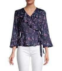 ava & aiden women's faux wrap floral top - floral - size xl