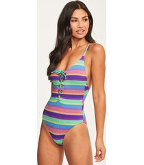 baja stripe v neck one-piece swimsuit