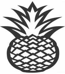 enfeite decorativo fruta abacaxi silhueta preto 43x25x1cm - preto - dafiti