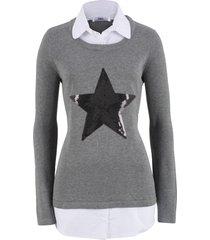 2-i-1-tröja med blusinfällning, långärmad
