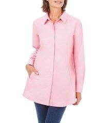 women's foxcroft cici non-iron tunic blouse, size 2 - pink