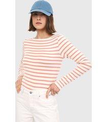 camiseta manga larga blanco-naranja gap