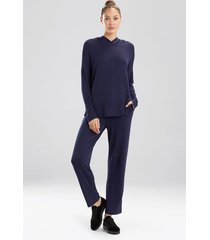 n-trance lounge pullover pajamas, women's, blue, size l, n natori