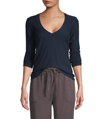 james perse women's long-sleeve cotton-blend top - canyon - size 2 (m)