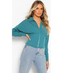 geweven blouse met korset detail en rits, blauwgroen