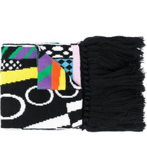 versace logo embroidered scarf - black