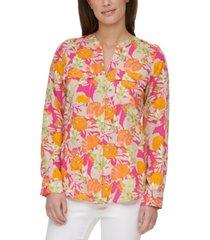 calvin klein floral-print utility shirt
