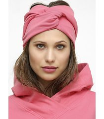 różowa zaplatana opaska z bawełny