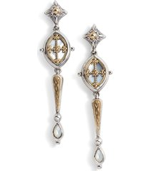 konstantino etched sterling & pearl earrings in silver/gold/white at nordstrom
