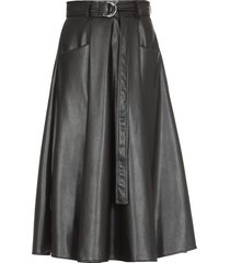 msgm eco leather flared skirt