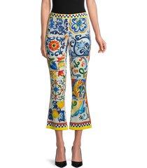 dolce & gabbana women's print silk-stretch cropped pants - size 42 (8)