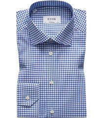 eton overhemd blauw geruit contemporary fit
