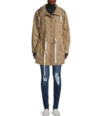 frame women's cotton-blend hooded parka - cargo multi - size xs
