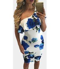 azul one hombro falbala estampado floral al azar midi vestido