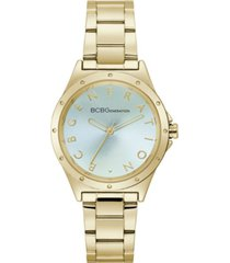 bcbgeneration ladies 3 hands gold-tone stainless steel bracelet watch, 34 mm case