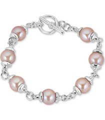 cultured freshwater pink pearl (9mm) bracelet in sterling silver